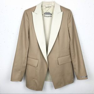 Sportmax Silk Blend Blazer Jacket Tan & Cream 12